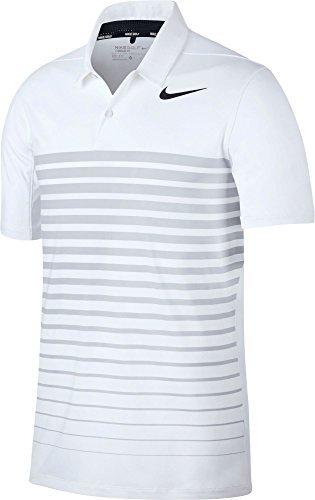 Nike M NK Dry HTHR Stripe Polo Tennis, Herren M weiß / (white / wolf grey / black) (Nike Stripe Polo)