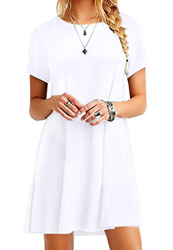 OMZIN Damen Casual Kleid Loose T-Shirt Kleid Kurzarm Langes Shirt Mini Sommerkleid,Weiß,XS (Frauen T-shirt Lange)