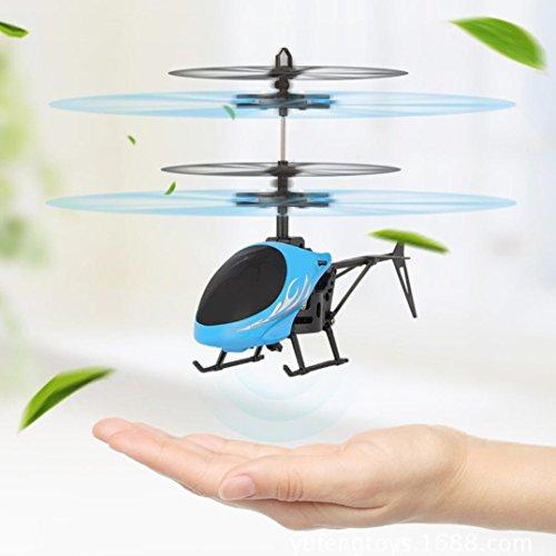 sunnymi Induktion Hubschrauber Flugzeug,USB Aufladung,Kinder Spielzeug Airplanes, Elektro Infrarot Sensor Start Induktion,Puzzle Bildung Spielzeug, Geeignet für: Alter 8+ (blau, 17.5 x 3.5 X 11cm)
