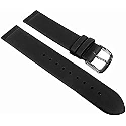 Graf Manufacture watch strap leather in black lug ends for clamping in/Screwing in suitable for the Skagen, Boccia, Bering, Rolf Kremer, DD, Obaku etc; Bridge Width: 22 mm