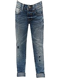 M&Co Boys Cotton Rich Mid Wash Blue Rip and Repair Detail Super Slim Leg Denim Jeans