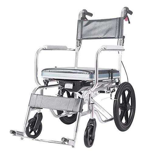 WZC Sedia a rotelle pieghevole semovente con freno, sedia comoda, trasporto leggero Sedia da viaggio pieghevole in lega di alluminio soggiorno/A