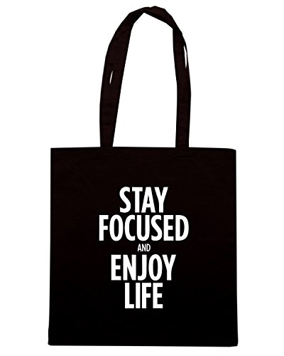 T-Shirtshock - Borsa Shopping CIT0203 stay focused enjoy life Nero