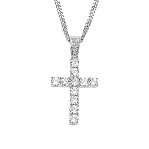 0caf26a261325 (Silver) - MCSAYS Hip Hop Jewellery Iced Out Bling Full Crystal Cross  Pendant Golden Cuban Chain Religious Christian Necklace Fashion Accessories  For ...