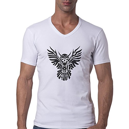 Owl Bird Night Midnighter Logo Black Herren V-Neck T-Shirt Weiß