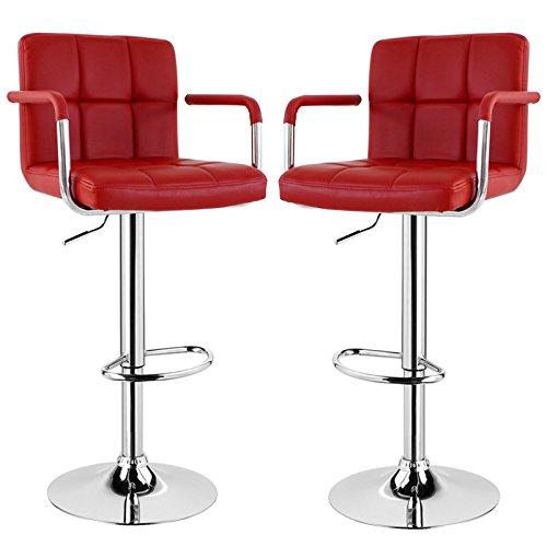 Eugad sgabelli da bar bh16bd, sgabello con schienale braccioli poggiapiedi, sedia alta cucina, acciaio cromato ecopelle 2 pezzi bordeaux