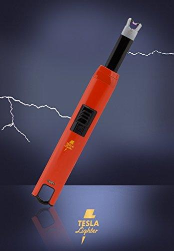 TESLA Lighter T07   Lichtbogen Feuerzeug, Grillfeuerzeug, Stabfeuerzeug, BBQ, elektronisch wiederaufladbar, aufladbar mit Strom per USB, ohne Gas und Benzin, mit Ladekabel, in edler Geschenkverpackung, Rot
