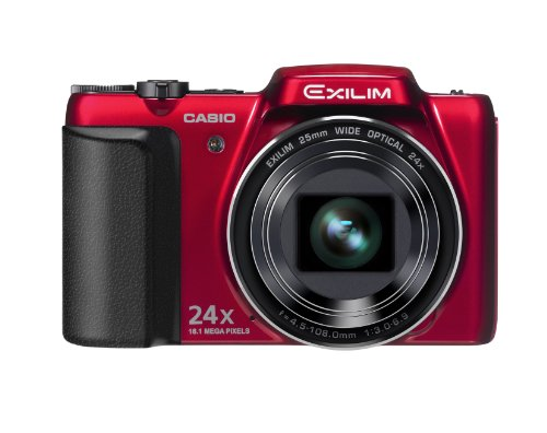 Casio Exilim EX-H50 Digitalkamera (16,1 Megapixel, 24-fach opt. Zoom, 7,6 cm (3 Zoll) Display, bildstabilisiert) rot (Casio Kamera Digital)