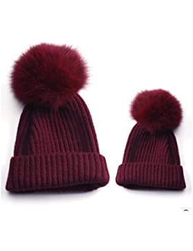 cofco mamá y bebé sombreros gorro de bola doble gorro de invierno gorro de invierno gorros de lana para tejer...