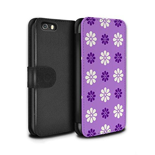 Stuff4 Coque/Etui/Housse Cuir PU Case/Cover pour Apple iPhone 5/5S / Violet Design / Motif avec pétales Collection Violet
