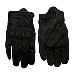 Kolylong Motorcycle Bicycle Riding Racing Bike Protective Armor Short Leather Gloves (B, L)