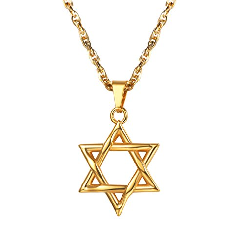 PROSTEEL Magen David Stern Anhänger Halskette Edelstahl Judentums Davidstern Modeschmuck, Gold