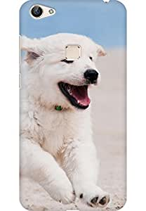 AMEZ designer printed 3d premium high quality back case cover for Vivo X6 (Dog puppy white animal pet beach sand sea)