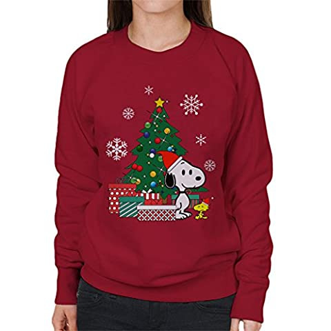 Snoopy And Woodstock Around The Christmas Tree Women's Sweatshirt (Charlie Brown Weihnachts-tv-programm)