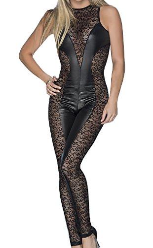 HO-Ersoka Damen Overall Catsuit Wetlook und Spitze ärmellos schwarz XS