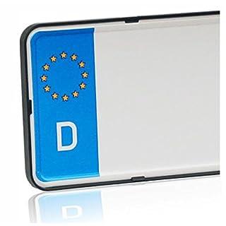 DEZENTOFIX CMS Kennzeichenhalter (EU Standard Grösse 52cm), Schwarz, Anzahl 2