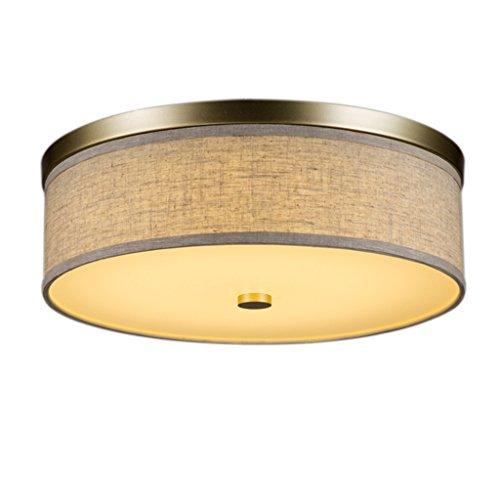 Plafonnier encastré - Nickel brossé avec Couverture en Tissu Gris, éclairage d'étude de Chambre Salon (Couleur : Lumière Chaude, Taille : 40 cm)