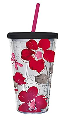 Red Floral Symphony Insulated Travel Cup
