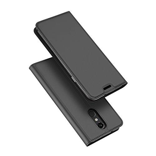 DUX DUCIS LG Q7 Hülle,Flip Folio Handyhülle,Magnet,Standfunktion,1 Kartenfach,Ultra Dünn Schutzhülle für LG Q7 / Q7 Plus / Q7α (Grau)