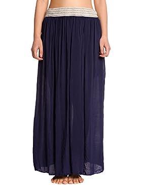 Abbino 1758 Maxi Faldas con Elástico en Cinturas Mujer - Hecho en ITALIA - 5 Colores - Entretiempo Primavera Verano...