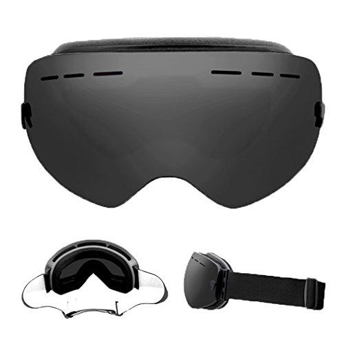 Unisex Skibrille winddicht Anti-Fog UV400Protect Double Lens fucnen Schneemobil Snowboard Brille Motocross Snow Schutzbrille mit abnehmbarem Objektiv Helm geeignet, REVO GREY
