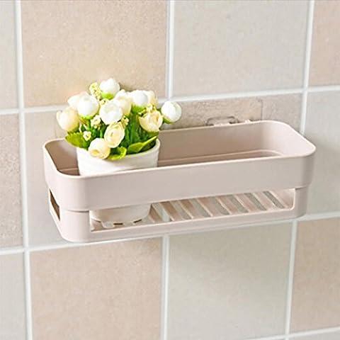 HKFV Perfect Design Plastic Suction Cup In Your Bathroom Kitchen Corner Storage Rack Organizer Shower Shelf Convenience Using