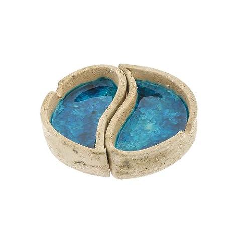 Cendrier rond bleu en céramique et en verre fait main 13cm (13cm)