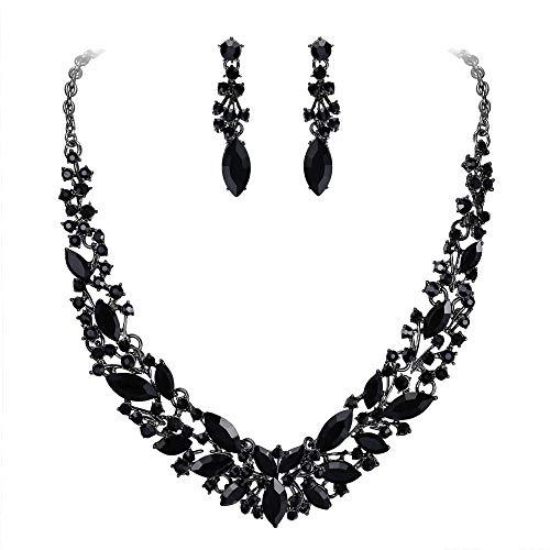 Clearine Damen Schmuckset Hochzeit Braut Österreichischen Kristall Marquise Cluster Kragen Halskette baumeln Ohrringe Set Schwarz Silber-Ton