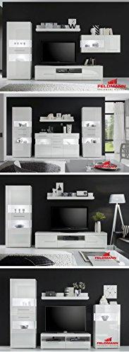 Wohnzimmer komplett 440904 weiß / weiß Hochglanz 6-teilig - 3