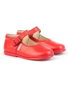 Merceditas de Cuero Color Rojo para Niña. Marca AngelitoS. Modelo 500. Todo Piel. Calzado infantil hecho en España...