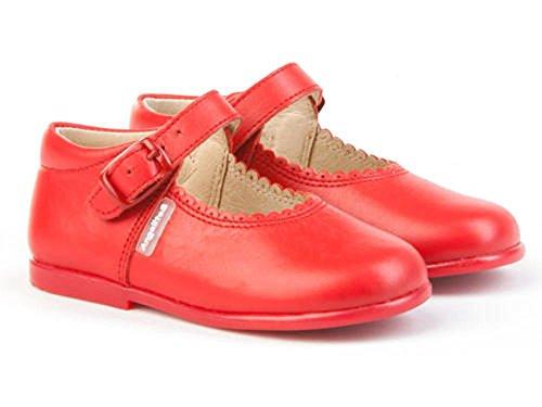 Merceditas Cuero Color Rojo Niña. Marca AngelitoS