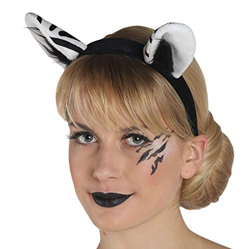 Amakando Haarreif Zebra für Damen / Weiß-Schwarz / Origineller Haarreifen mit Tierohren / Perfekt geeignet zu Fasching & - Pferd Ohren Und Schwanz Kostüm