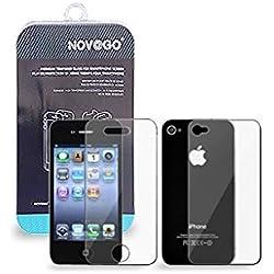 NOV@GO® 2 Films (1AV+1AR) protection écran et protéction arrière en verre trempé résistant pour iPhone4 , iPhone 4S