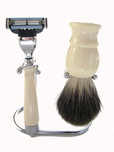 Mach 3 Razor Stand (Badger Brush Mach 3 Razor with Stand Shaving Set Beige by Haryali London)