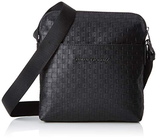 Armani Exchange Herren Old Logo Crossbody Bag Business Tasche, Schwarz (Black Check), 22x3x20 cm