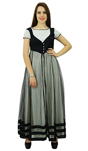 Phagun Femmes Ethnique Motif Top Coton Polka Dot Designer Anarkali Kurti Dress Noir et gris