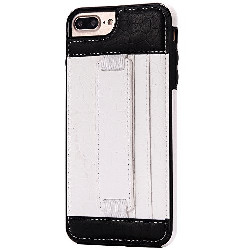 iPhone 5/5S/SE Case Hülle mit Kartenfach Kredit Karten Hülle Kunst Leder Handy Schutzhülle von Harrms, Stil 1 - Weiß