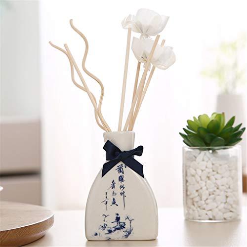 xue binghualoll Hauptdekoration,Reed Oil Diffusoren mit natürlichen Stiften, Keramikflasche und Duftöl 30ML -
