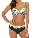 HongHu Neon Yellow Trim Zebra Striped 2 Stück Bikini Badeanzug Gelb M