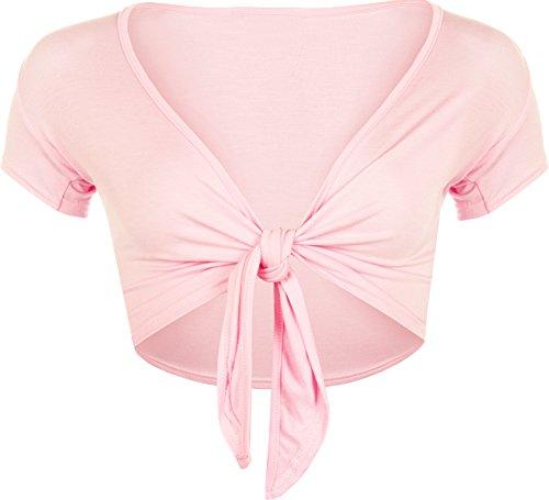 WearAll - Damen kurzarm Binden Crop Top - Rosa - 40-42