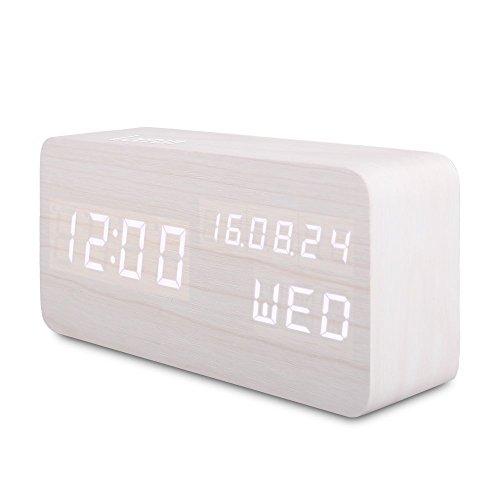 Nachttisch-Wecker Digital Alarm Clock Farbe Holz natur mit Arbeitszeit Zeit Datum und Temperatur LED Display, Uhr Tisch Sensor des...