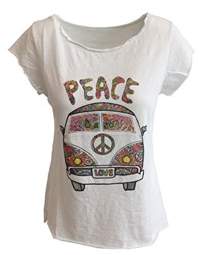 Damen Kurzarmshirt T-Shirt Shirts Peace Love Blumen Weiss Baumwolle LI0680301BS (Siebziger Jahre Kostüm)