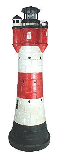 colourliving Leuchtturm Roter Sand groß ca. 80 cm rot weiß rotierender Solar LED Reflektor für den Garten am Teich Dekofigur mit drehendem Leuchtfeuer