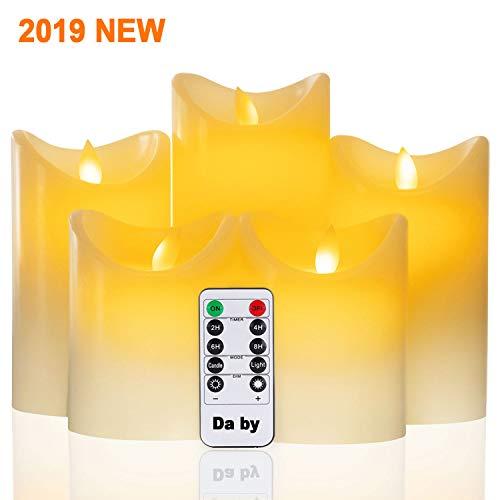 Da by Led flammenlose Kerze Höhe 10 cm × 2, 15,5 cm × 2, 16,5 cm × 1, Durchmesser 8 cm, 5PCS neueste Batterie Kerze -