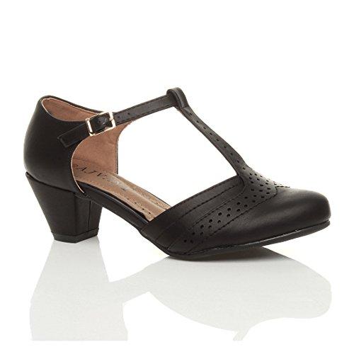 Damen Mitte Blockabsatz T-Riemen Ausgeschnitten Brogues Pumps Sandalen Größe 5 38