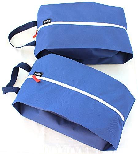 MeinDing große XL Premium Schuhtasche blau - 2er Set - Schuhbeutel - für Reise, Koffer und Sport - bis Schuhgröße 47