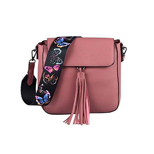 OBC ital-design DAMEN TASCHE Umhängetasche Crossbody Bag Shopper Schultertasche Henkeltasche Handtasche Beuteltasche CrossOver Schwarz Altrosa