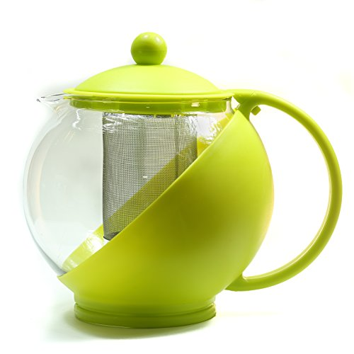 Teapot Round Glass with Plastic Frame/Teapot with removable stainless steel filter/Removable Infuser Basket/Coffee Jug/1.25 Liter/Yellow