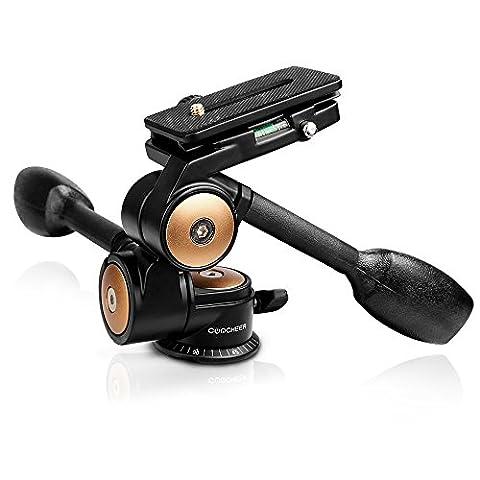 Pro Stativ Kugelkopf--Video Stativkopf 3-Wege-Neiger mit Schnellwechselplatte für DSLR Kamera-Stativ Einbeinstativ und Kamera Canon Nikon Sony Pentax (Schwarz)