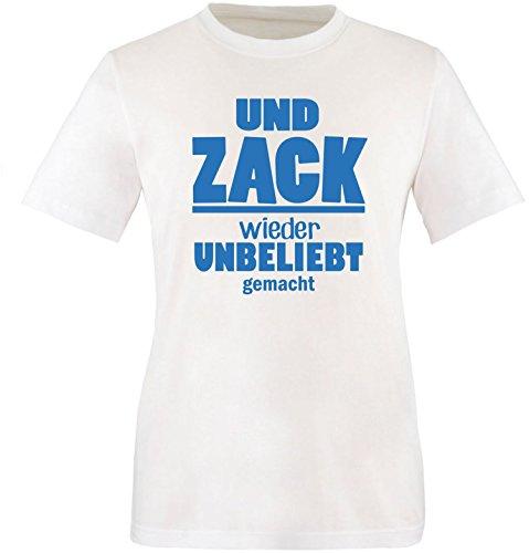 EZYshirt® Und Zack ! Wieder unbeliebt gemacht Herren Rundhals T-Shirt Weiss/Blau